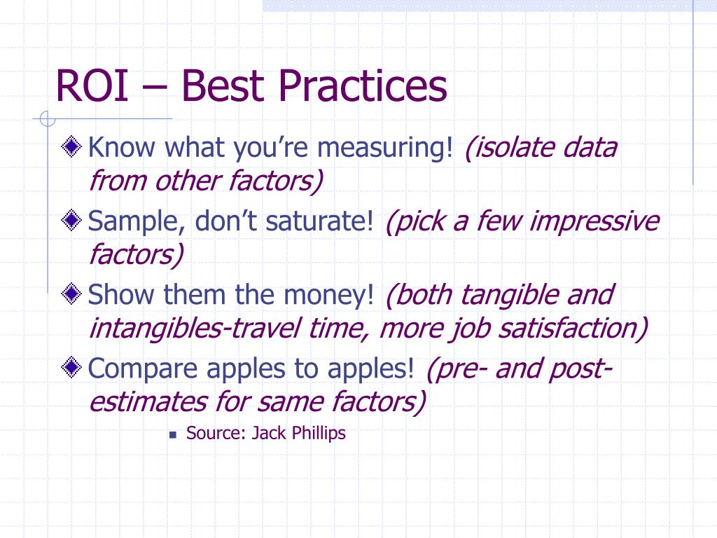 ROI – Best Practices