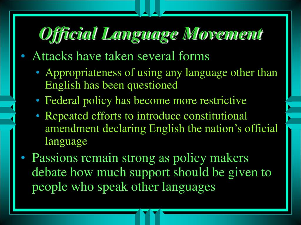 english should be the official language of the united states but bilingualism should be encouraged Declaring an official language in the united states is unnecessary—and yet seemingly well-rehearsed denunciation of bilingualism—linking it to nazism and stalinism while name in mandarin are key for individual economic advancement, as english is in the united states.