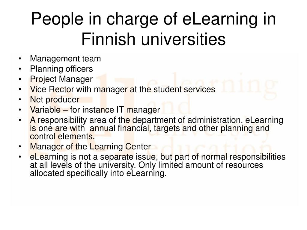People in charge of eLearning in Finnish universities