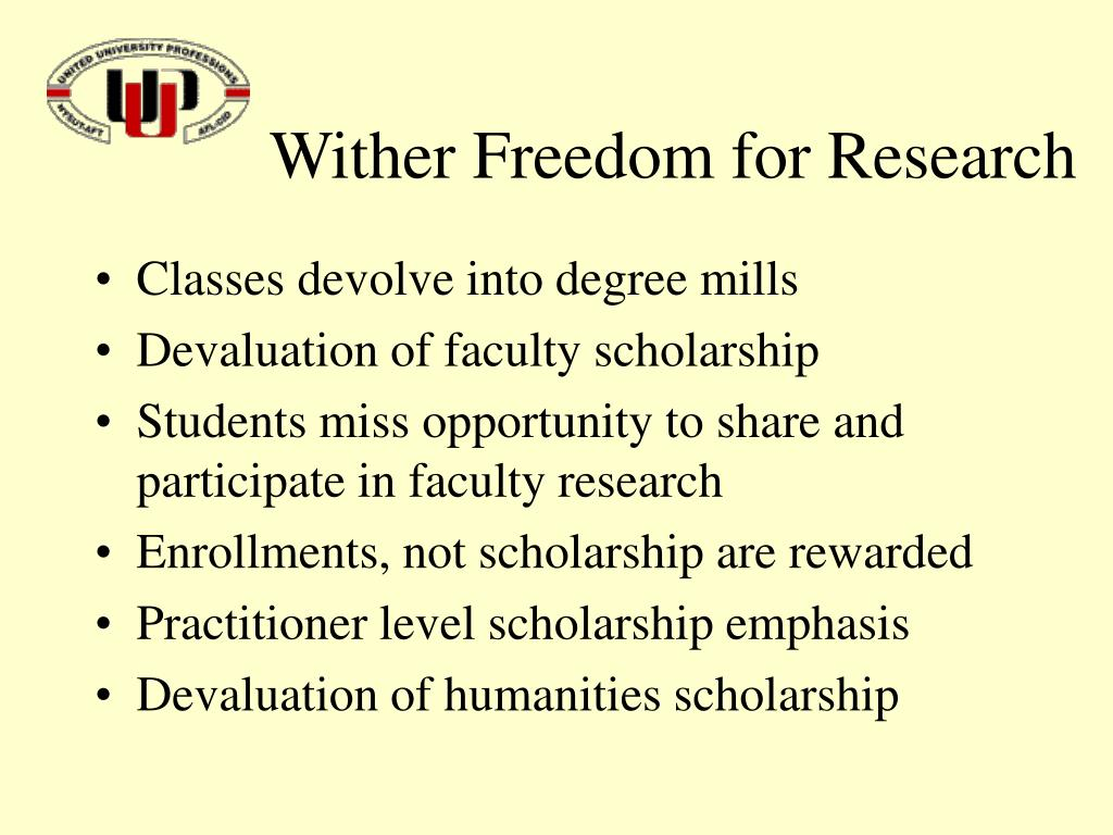 Wither Freedom for Research