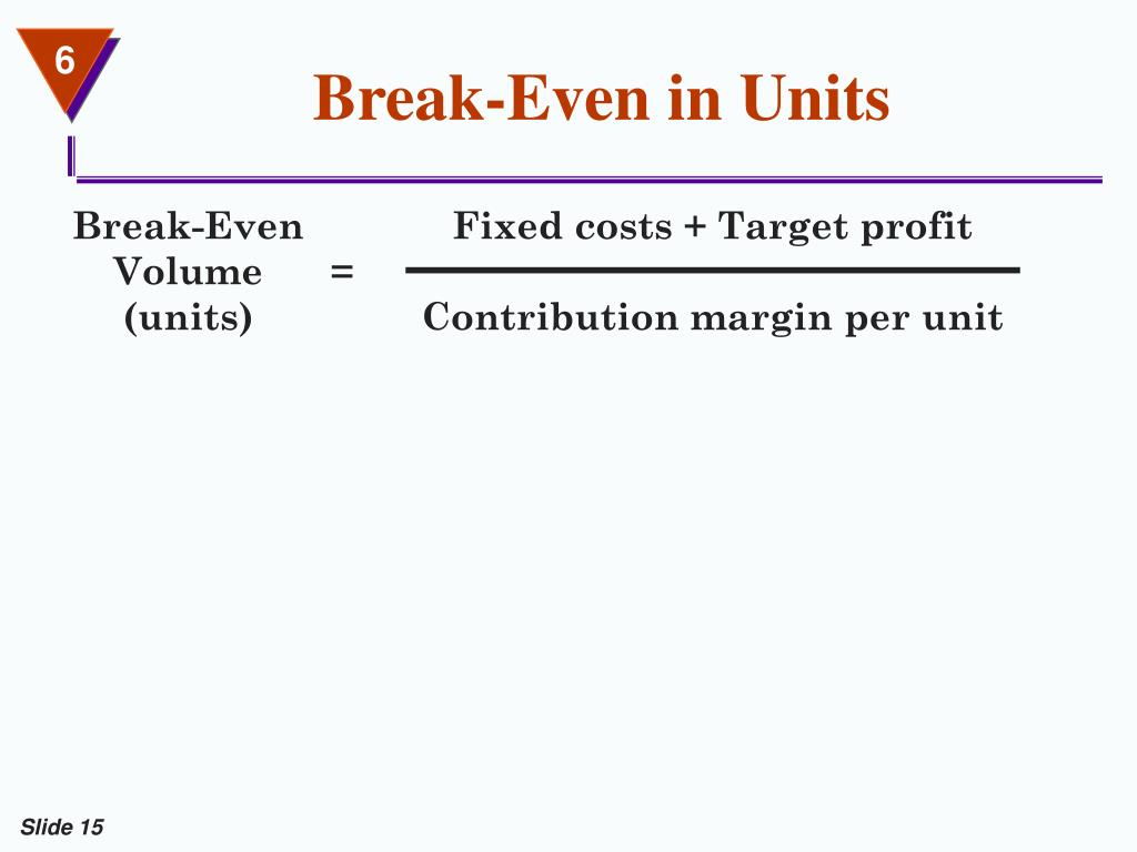 Break-Even in Units
