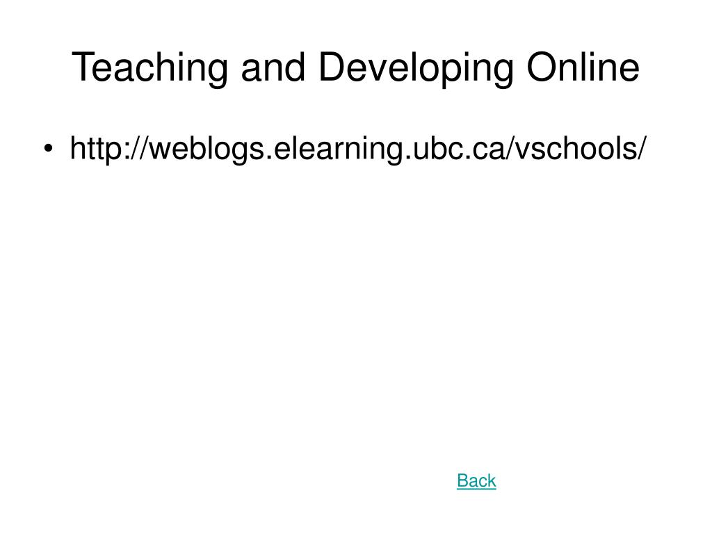 Teaching and Developing Online
