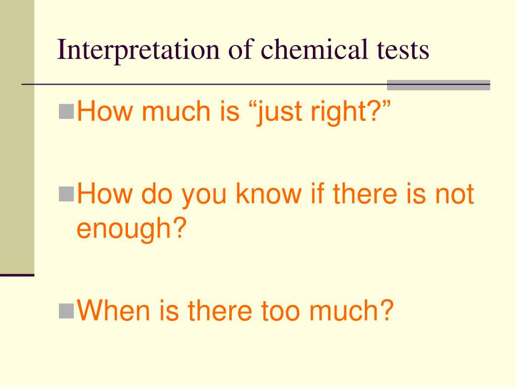 Interpretation of chemical tests