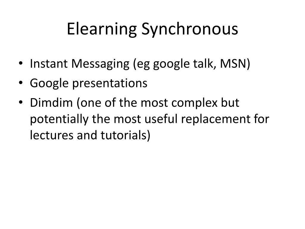 Elearning Synchronous