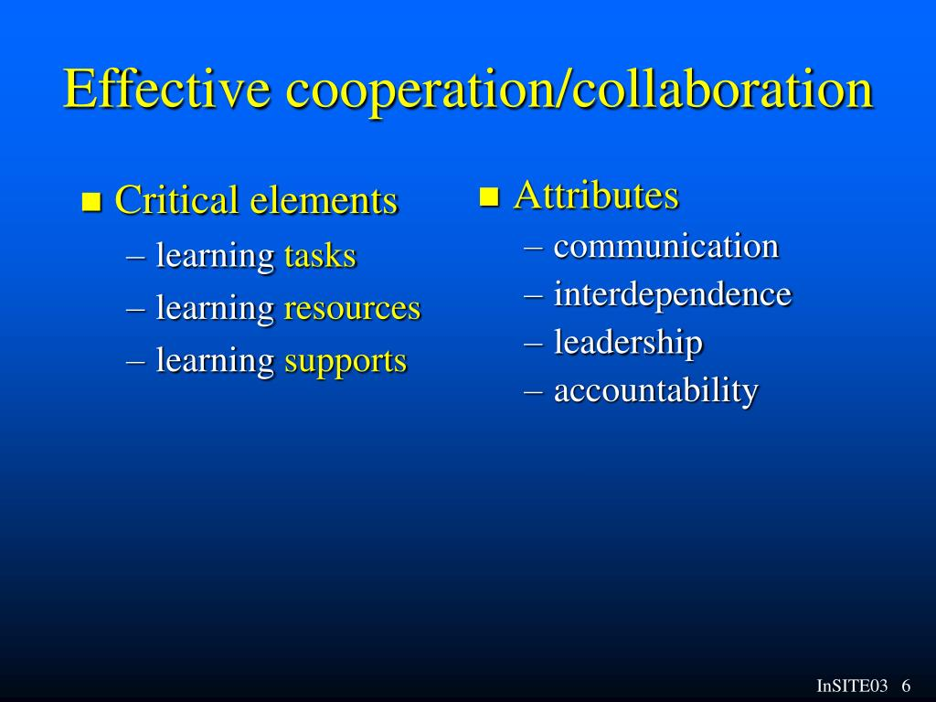 Effective cooperation/collaboration