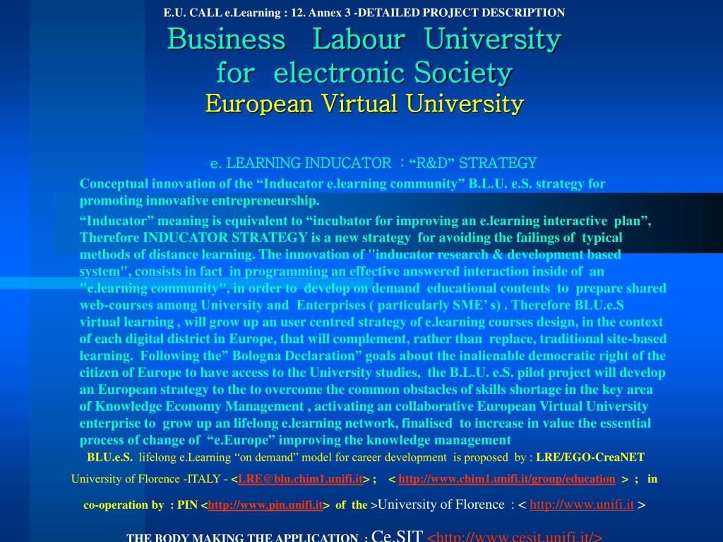 E.U. CALL e.Learning : 12. Annex 3 -DETAILED PROJECT DESCRIPTION