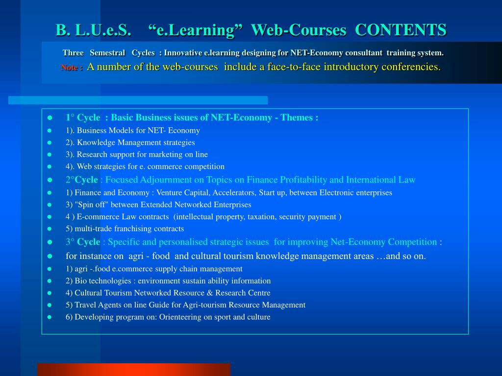 "B. L.U.e.S.    ""e.Learning""  Web-Courses  CONTENTS"