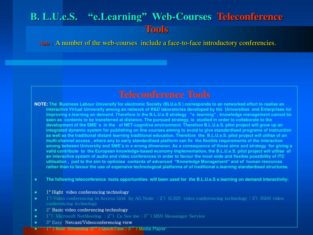 "B. L.U.e.S.    ""e.Learning""  Web-Courses"