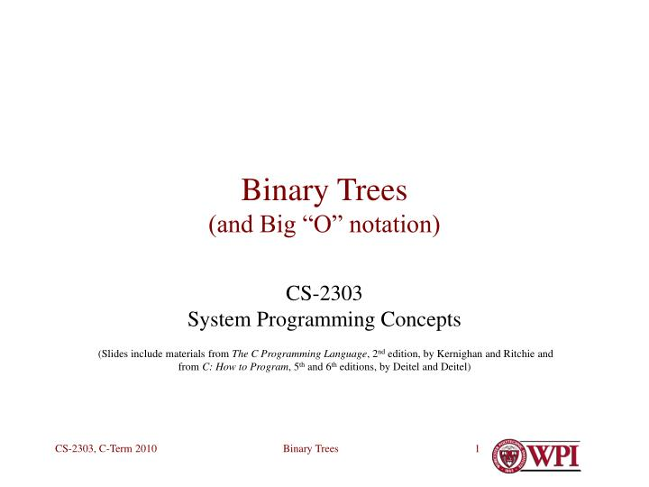 Binary trees and big o notation l.jpg