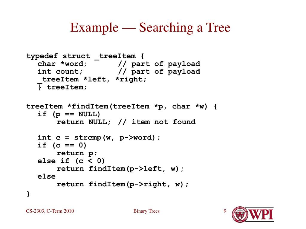Example — Searching a Tree