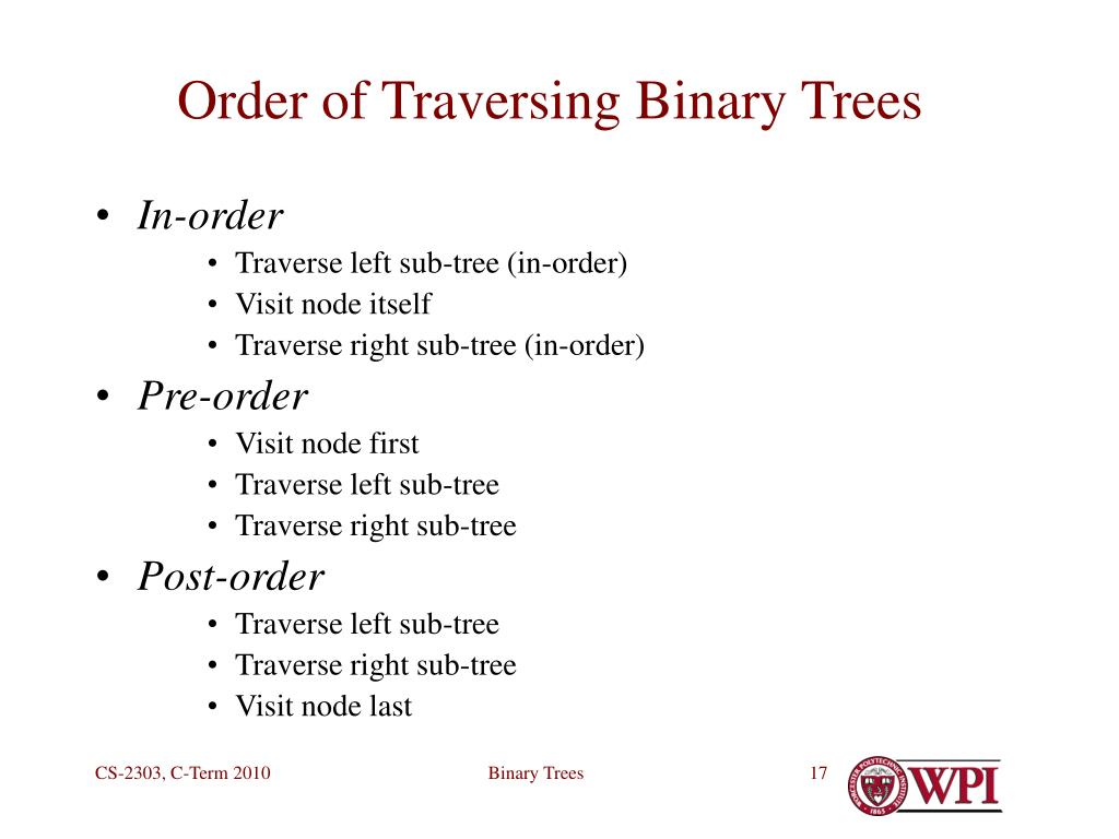 Order of Traversing Binary Trees