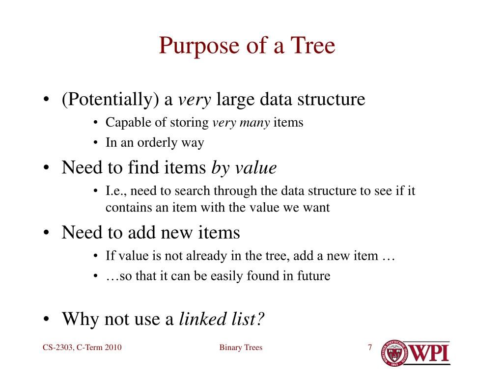 Purpose of a Tree