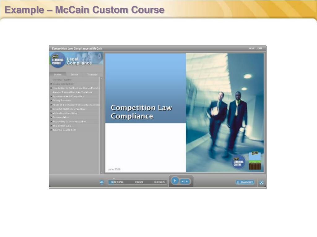 Example – McCain Custom Course