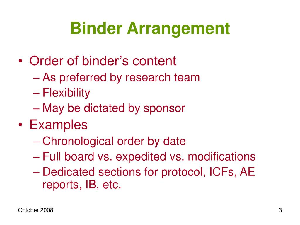 Binder Arrangement