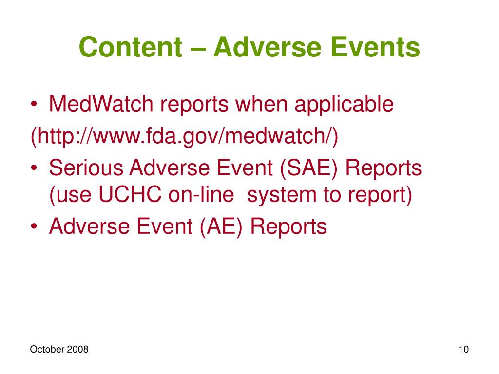 Content – Adverse Events