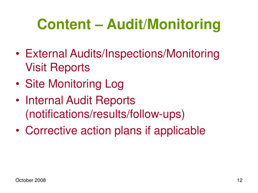 Content – Audit/Monitoring