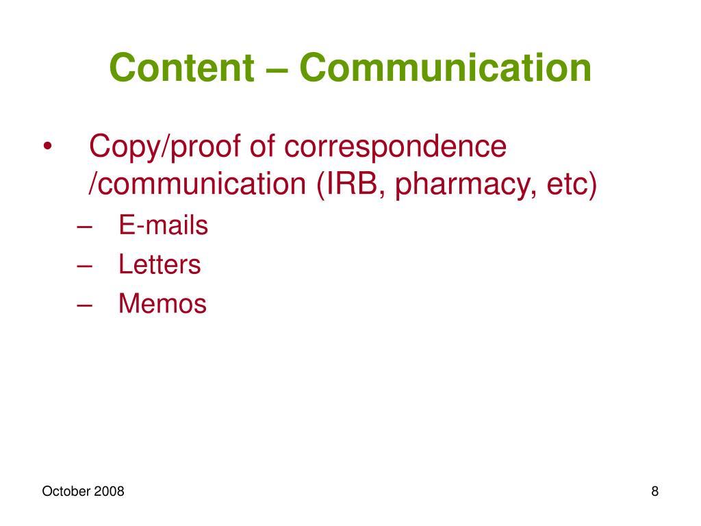 Content – Communication