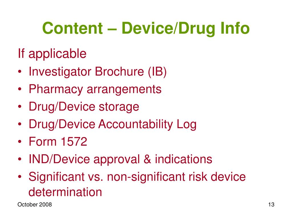 Content – Device/Drug Info