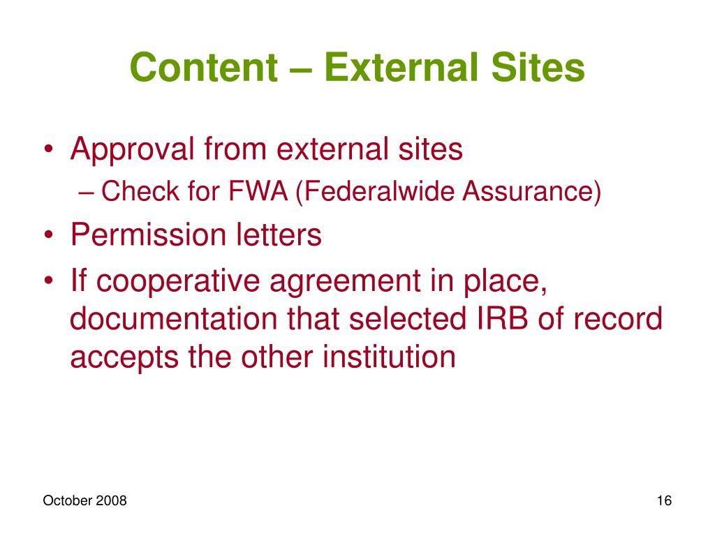 Content – External Sites
