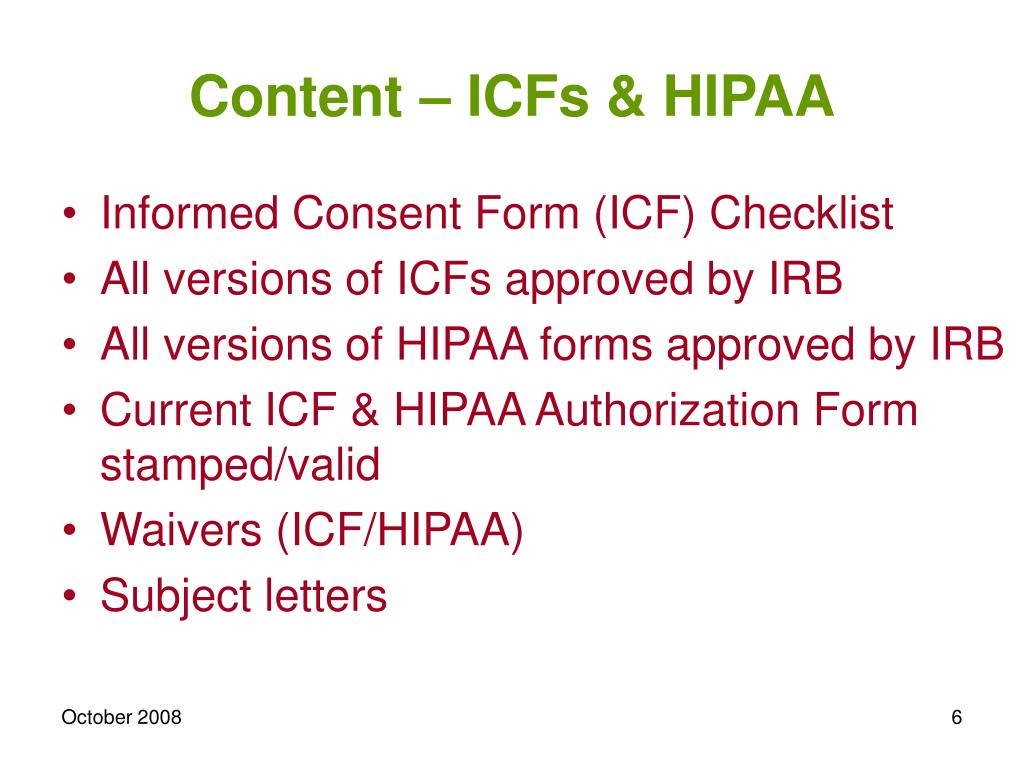 Content – ICFs & HIPAA