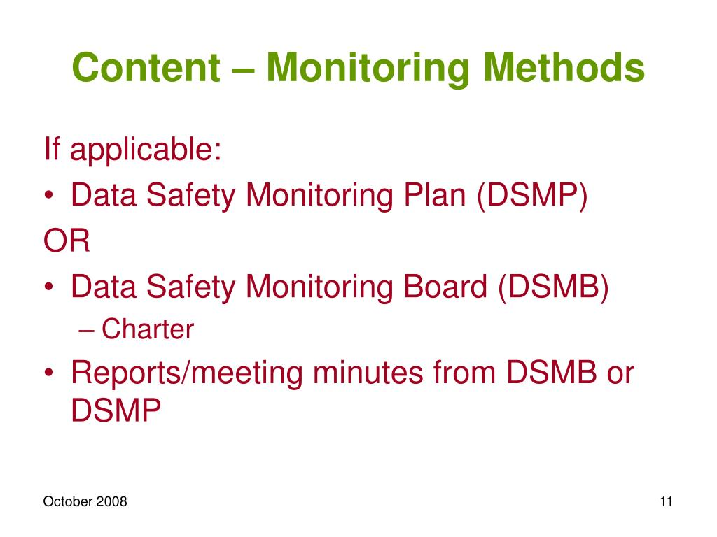 Content – Monitoring Methods