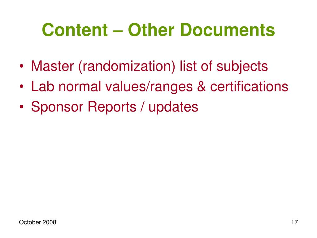 Content – Other Documents