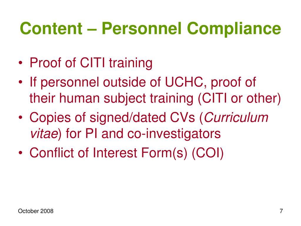 Content – Personnel Compliance