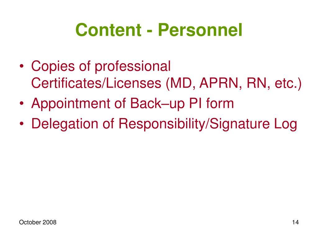 Content - Personnel