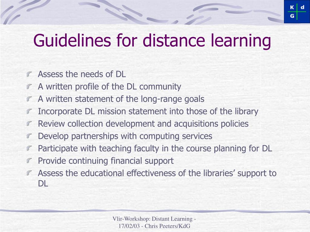 Guidelines for distance learning