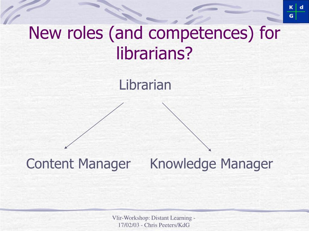 New roles (and competences) for librarians?