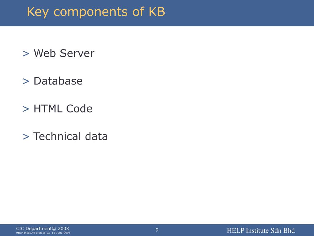 Key components of KB