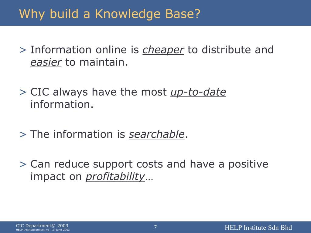 Why build a Knowledge Base?