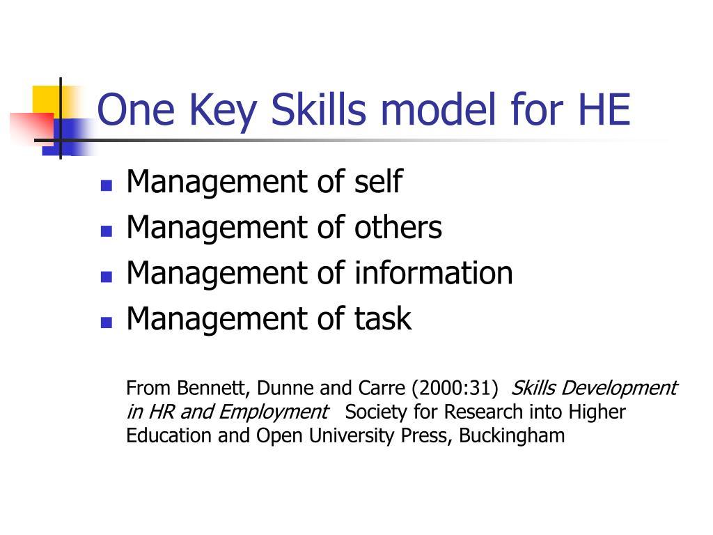 One Key Skills model for HE