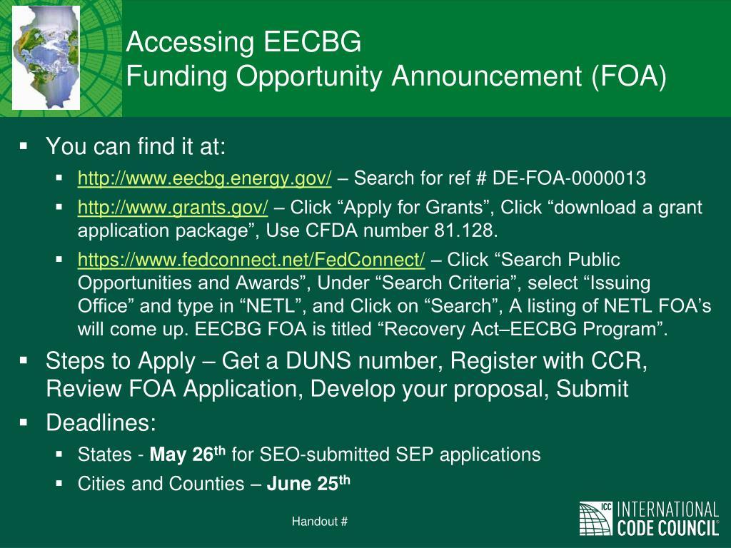 Accessing EECBG