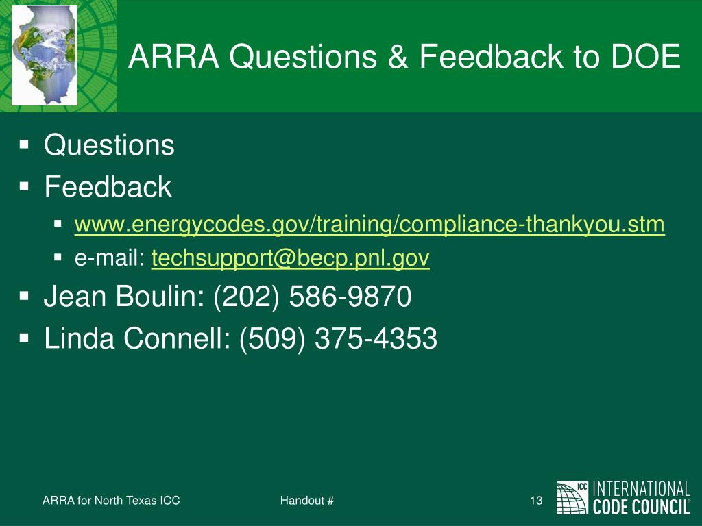 ARRA Questions & Feedback to DOE