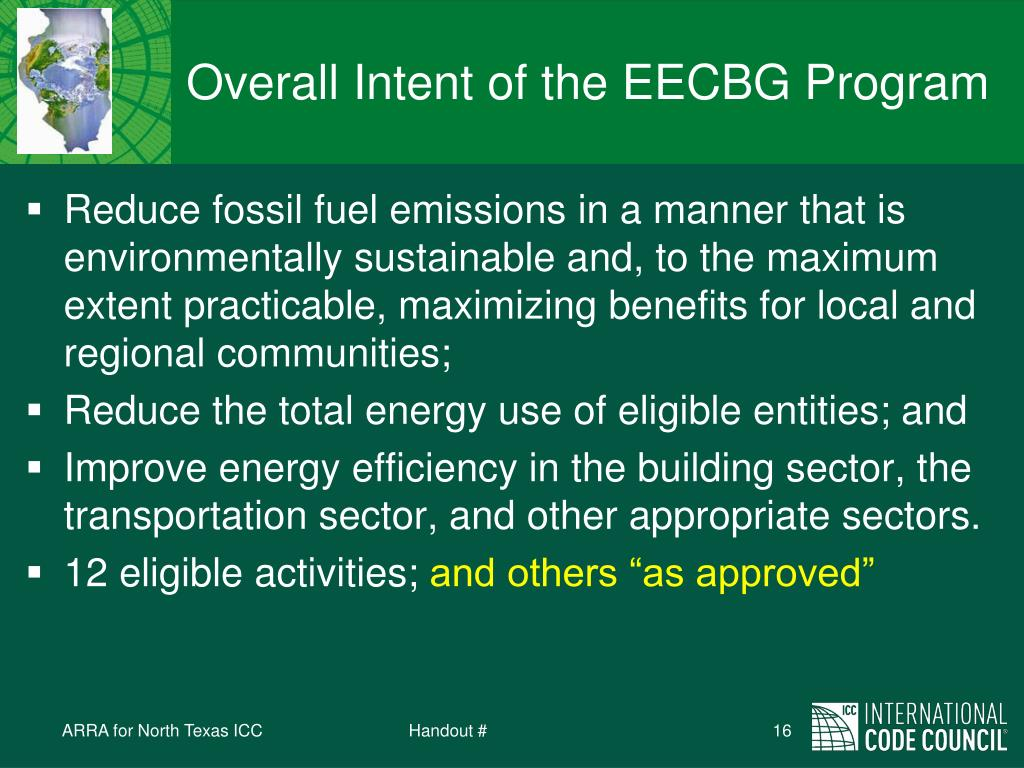 Overall Intent of the EECBG Program