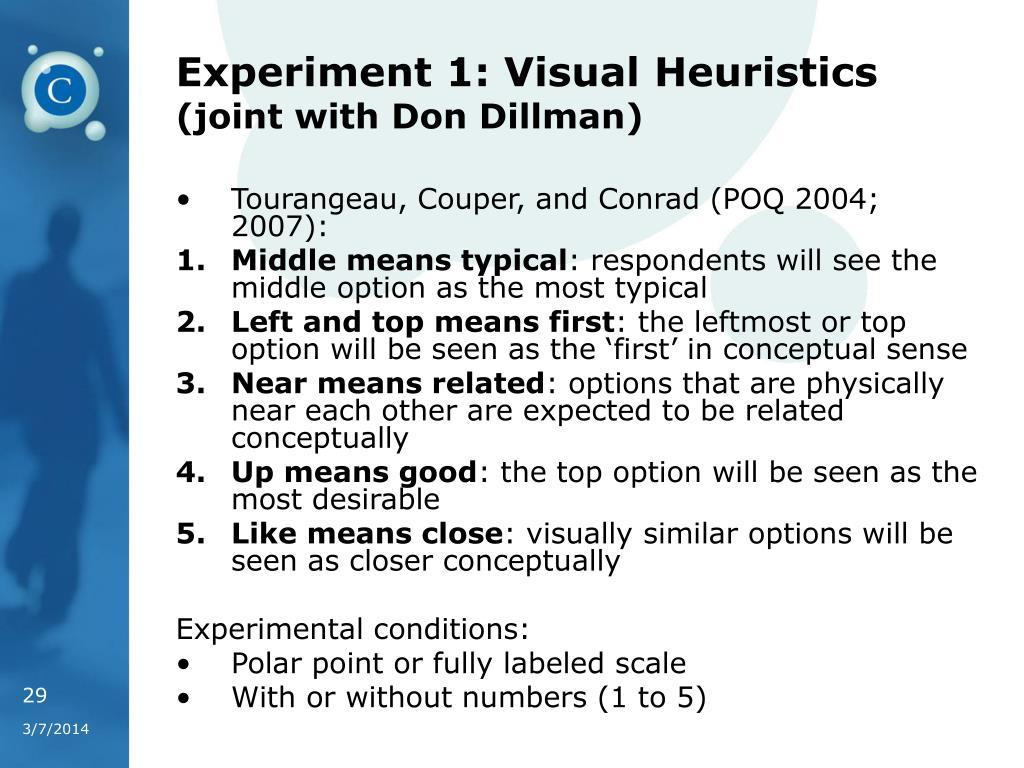 Experiment 1: Visual Heuristics