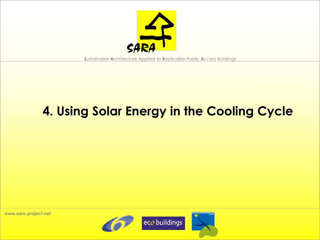 4. Using Solar Energy in the Cooling Cycle