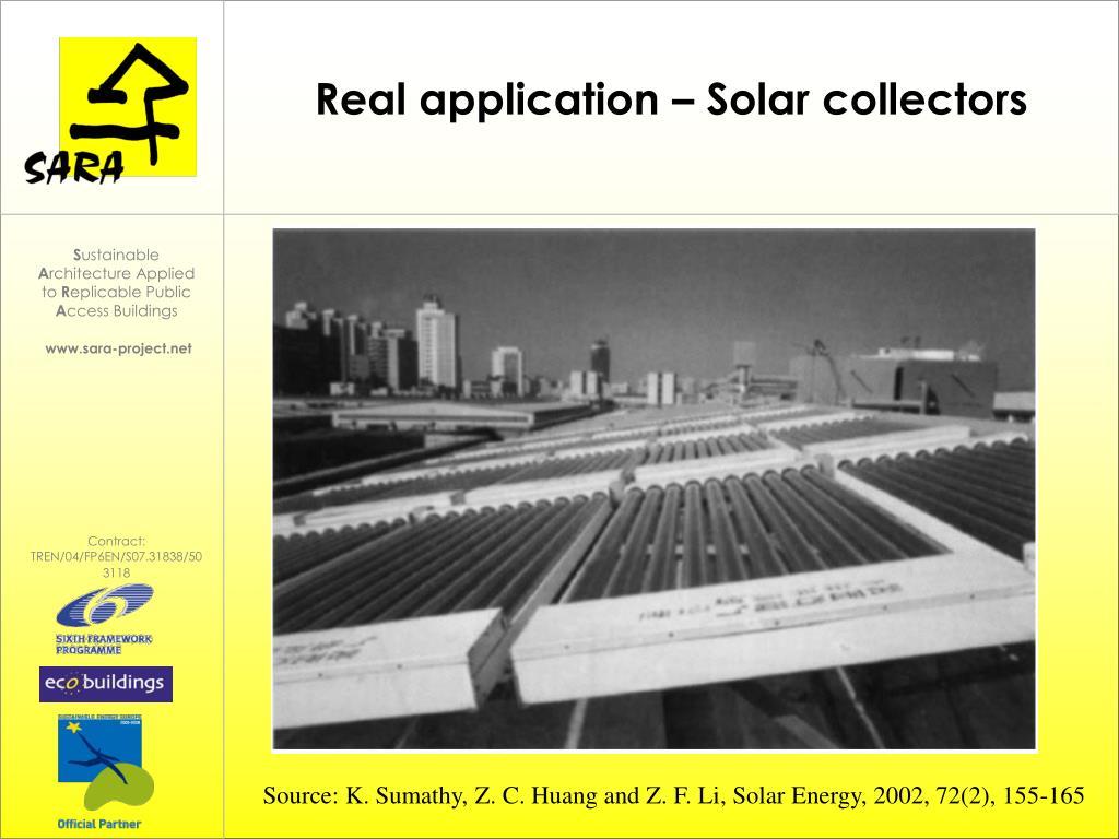 Real application – Solar collectors