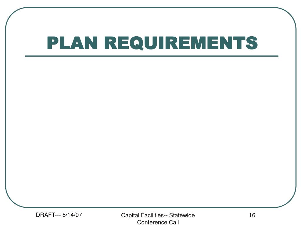 PLAN REQUIREMENTS
