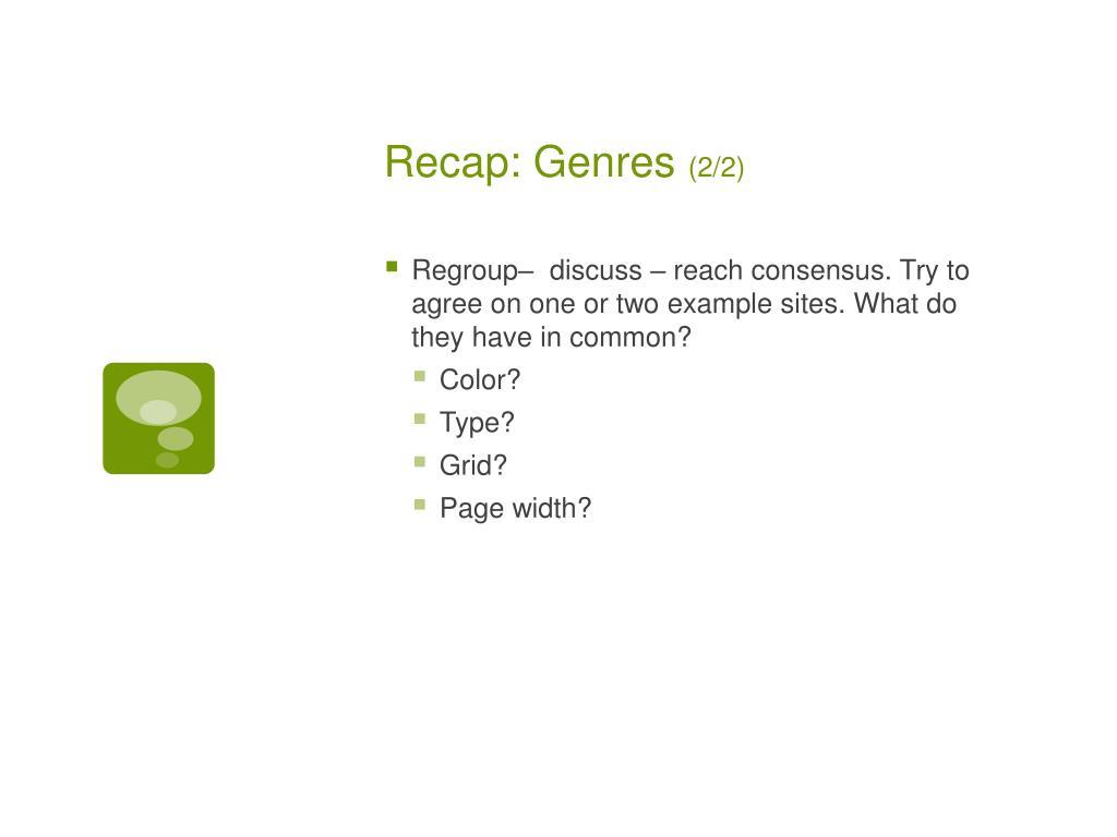 Recap: Genres