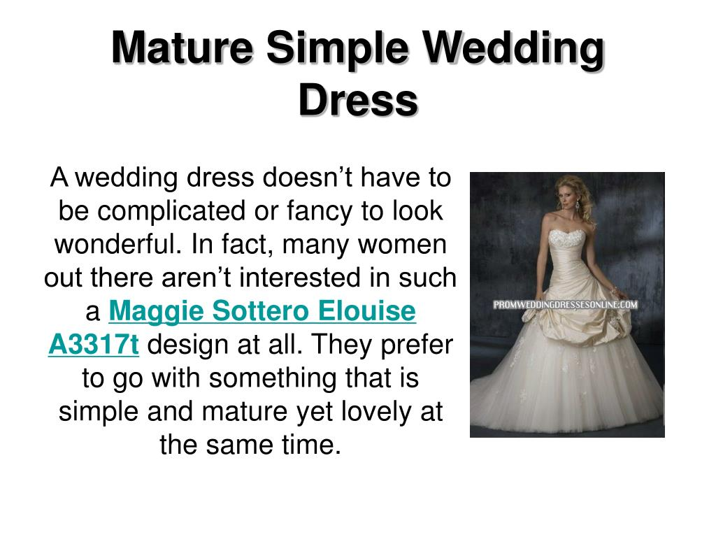 mature simple wedding dress