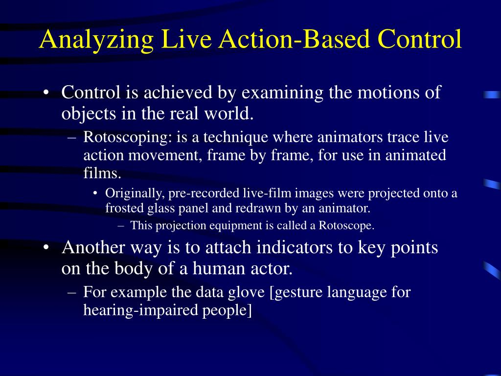 Analyzing Live Action-Based Control