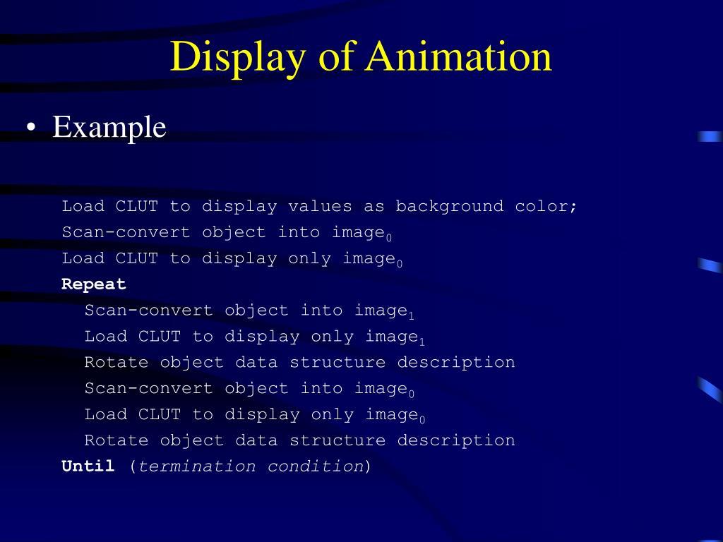 Display of Animation