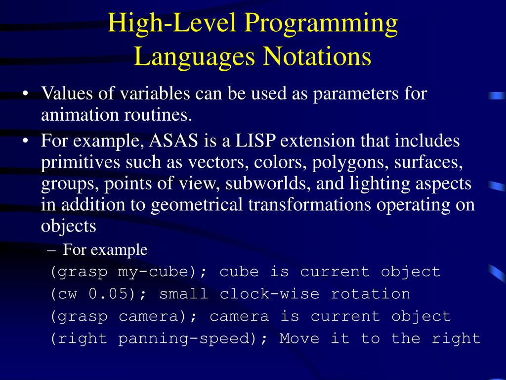 High-Level Programming Languages Notations