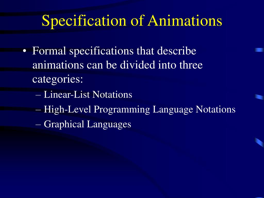 Specification of Animations