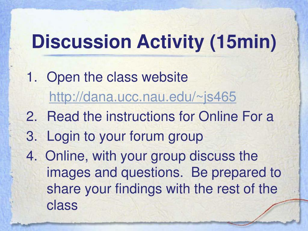 Discussion Activity (15min)