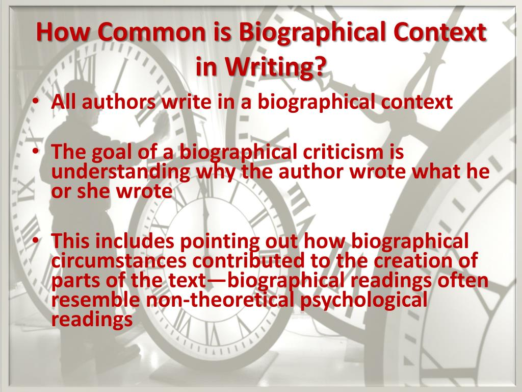 writing a biographical context essay