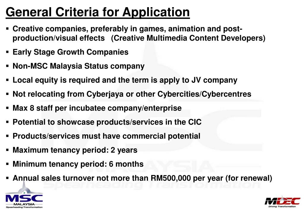 General Criteria for Application