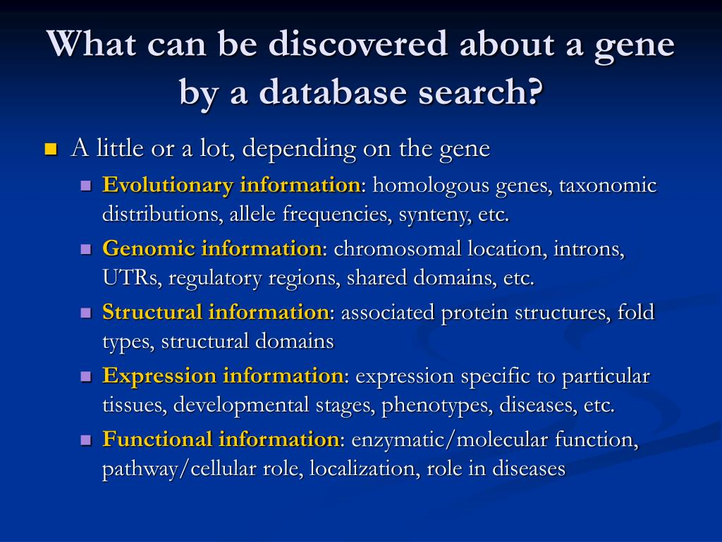 What can be discovered about a gene by a database search?